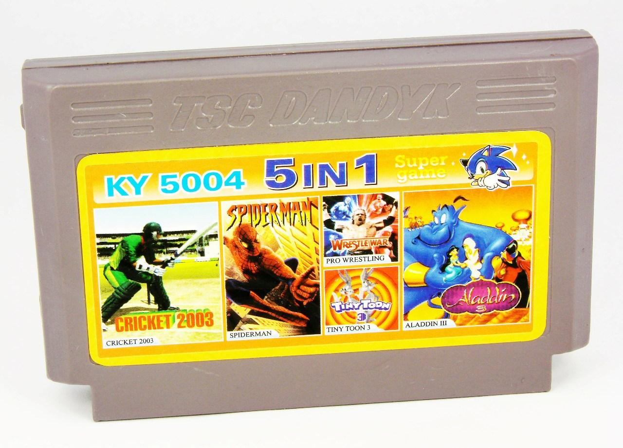 Картридж для Денди KY 5004 5 in 1 (Dendy), Cricket 2003, Spider-Man, Pro Wrestling, Tiny Toon 3, Aladdin 3