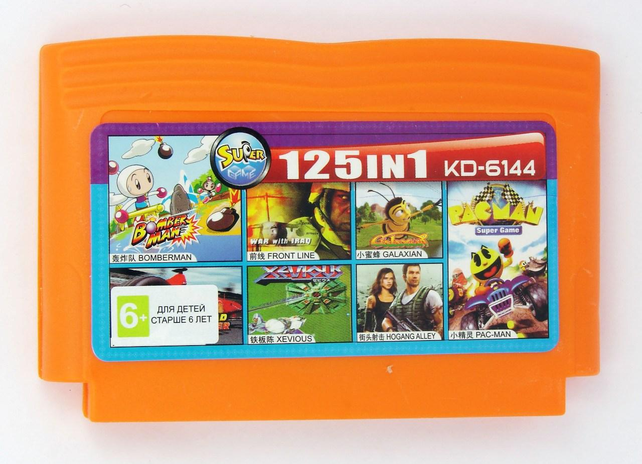 Картридж для Денди KD 6144 125 in 1 (Dendy), Bomberman, Road Fighter, Front Line, Xevious, Galaxian, Hogan's Alley, Ms. Pac-Man