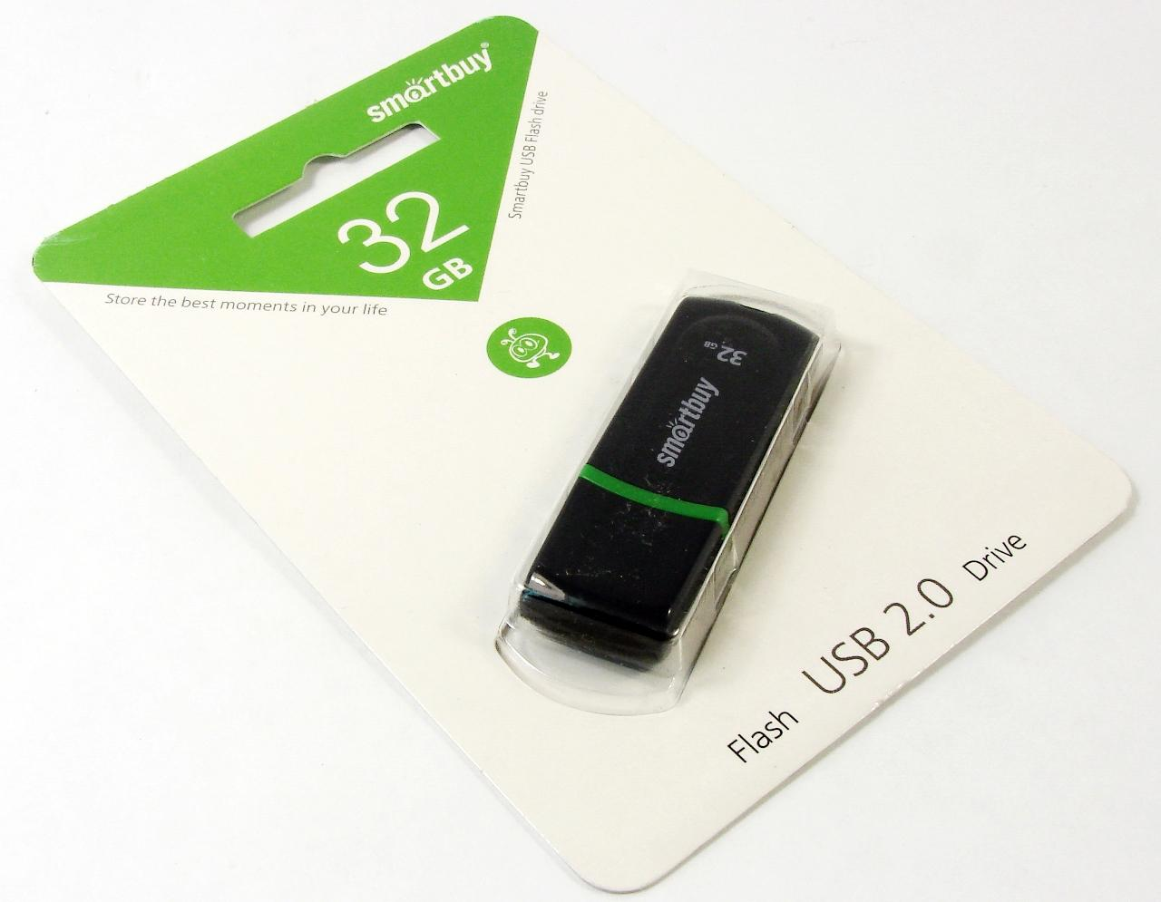 Флэш диск 32Gb USB 2.0 Smart Buy Paean Black (SB32GBPN-K)