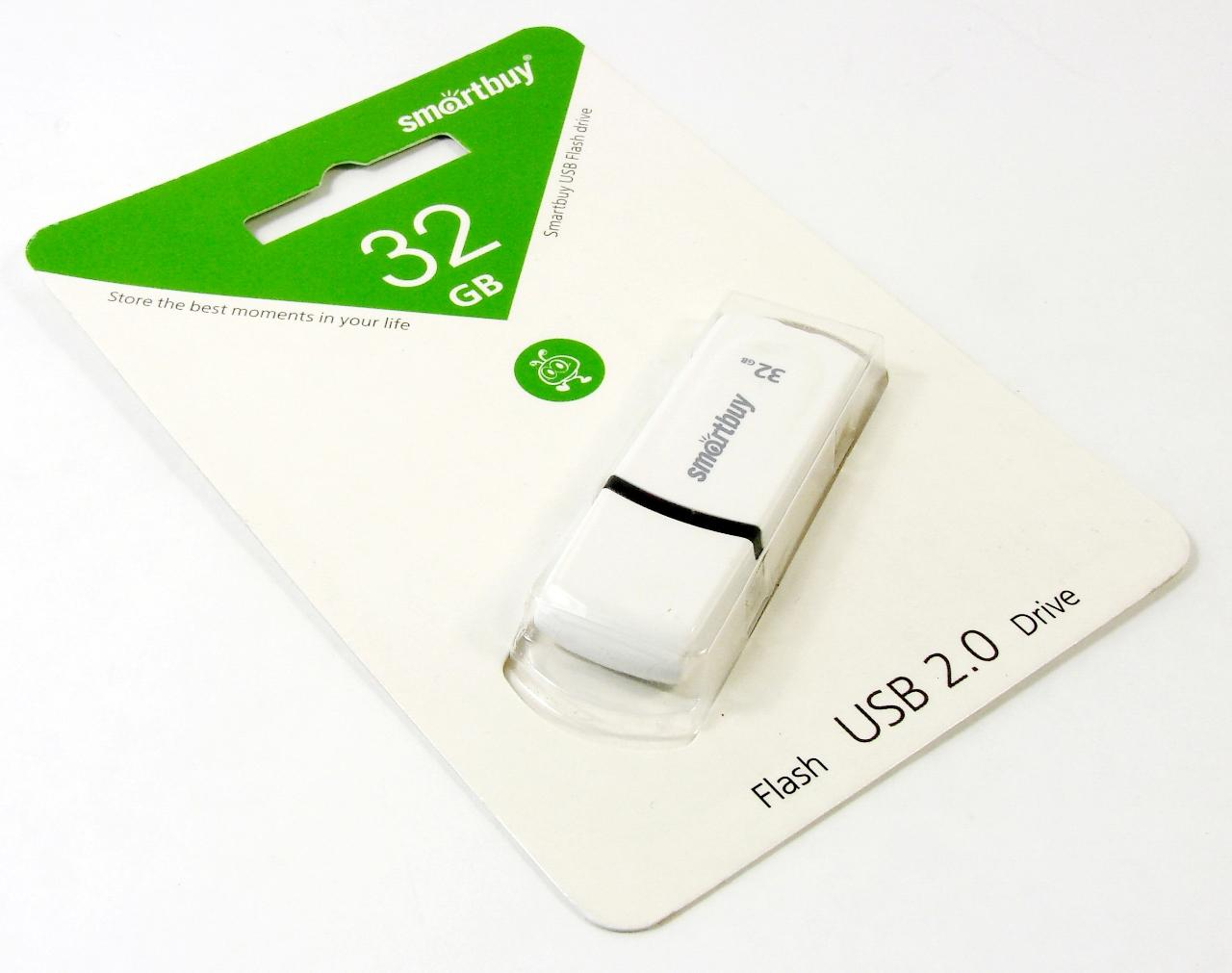 Флэш диск 32Gb USB 2.0 Smart Buy Paean White (SB32GBPN-W)