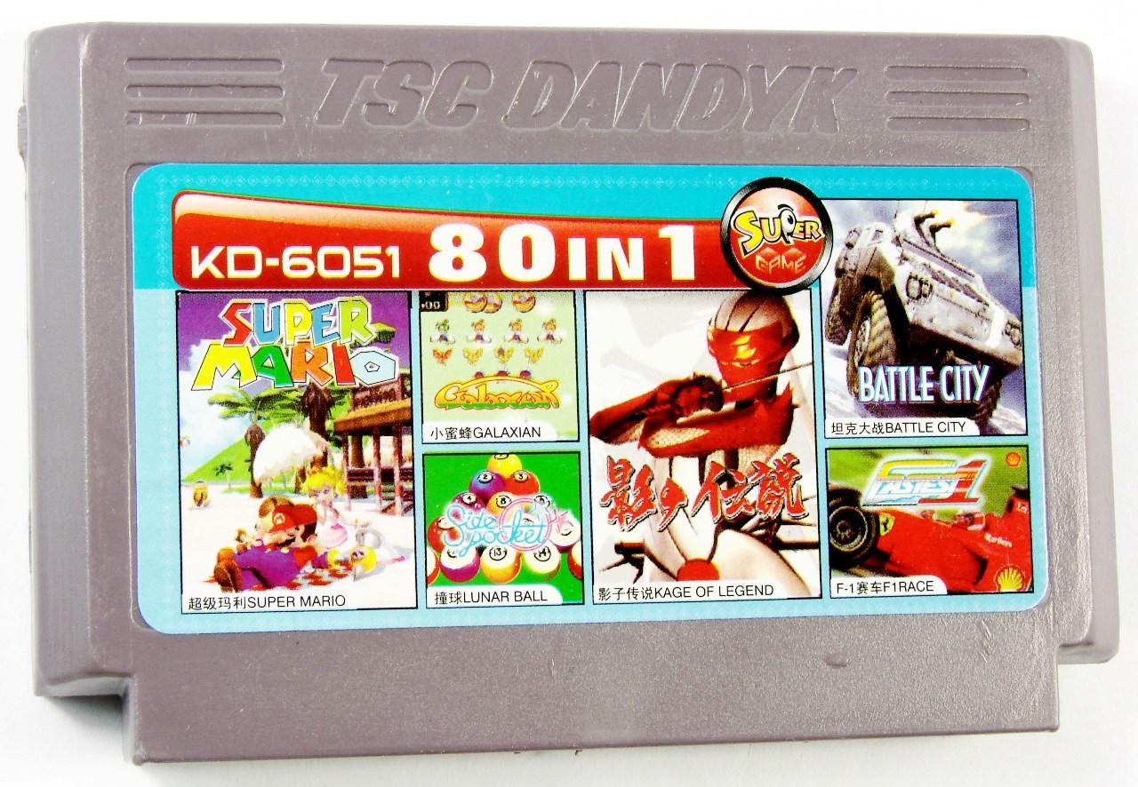 KD 6051 80 in 1 (Dendy), Super Mario, Galaxian, Lunar Ball, Legend of Kage, Battle City, F1 Race