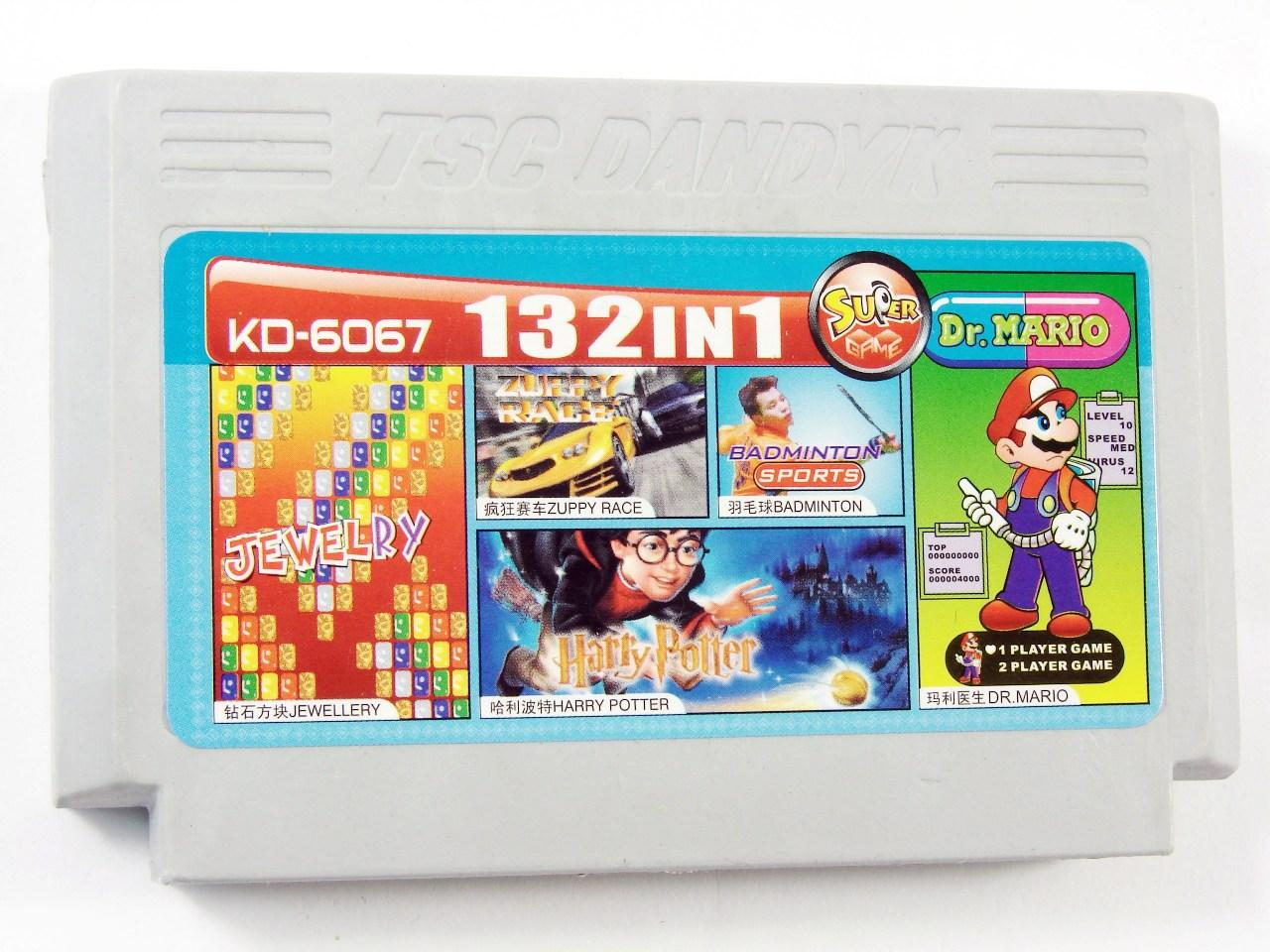 Картридж для Денди KD 6067 132 in 1 (Dendy), Jewellery, Zuppy Race, Harry Potter, Badminton, Dr. Mario