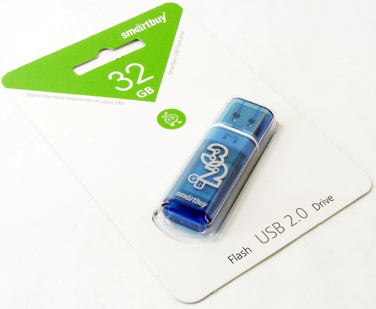 Флэш диск 32Gb USB 2.0 Smart Buy Glossy Blue (SB32GBGS-B)