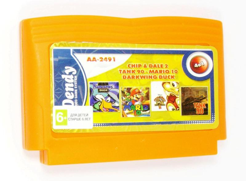 Картридж для Денди AA-2491 4 in 1 (Dendy), Darkwin Duck, Chip & Dale, Tank 90, Mario 10