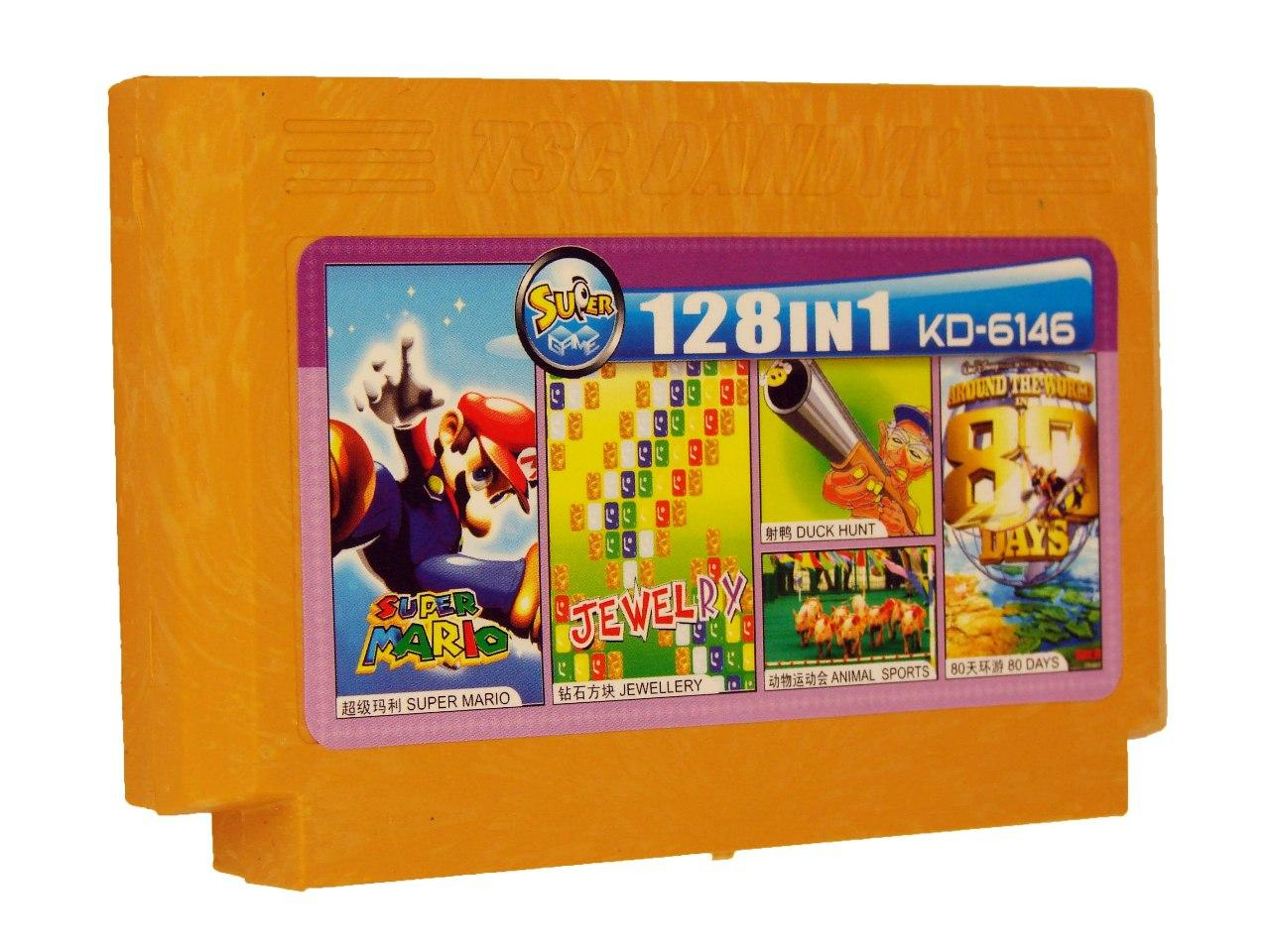 Картридж для Денди KD 6146 128 in 1 (Dendy), Super Mario, Jewellry, Duck Hunt, Animal Sports, Around the Word 80 Day