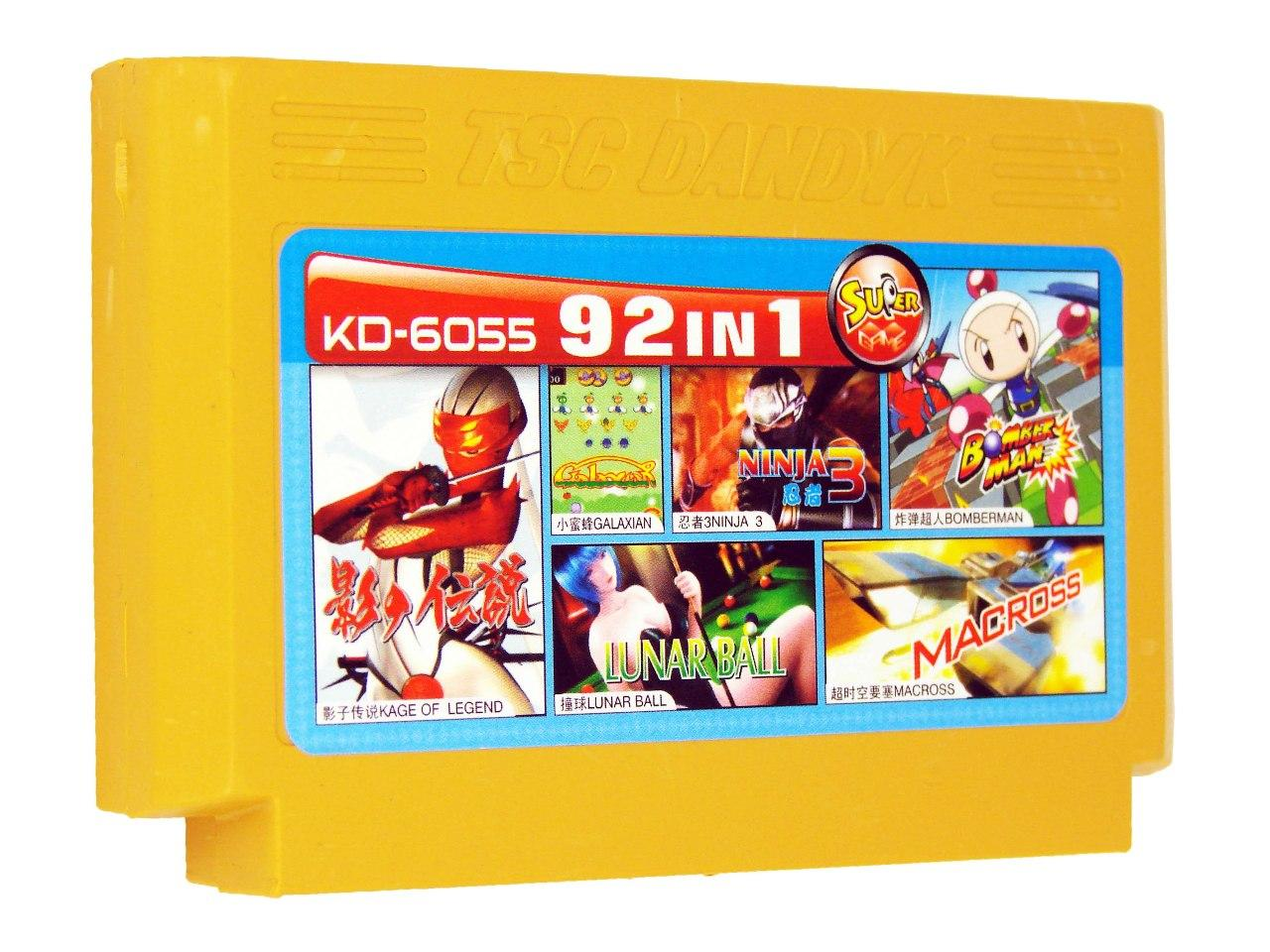 Картридж для Денди KD 6055 92 in 1 (Dendy), Legend of Kage, Galaxian, Lunar Ball, Ninja 3, BomberMan, Macross