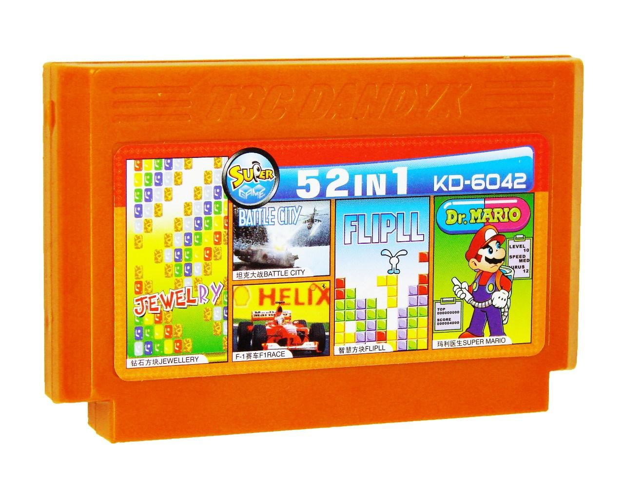 Картридж для Денди KD 6042 52 in 1 (Dendy), Jewellry, Battle City, F1 Race, Flipll, Super Mario