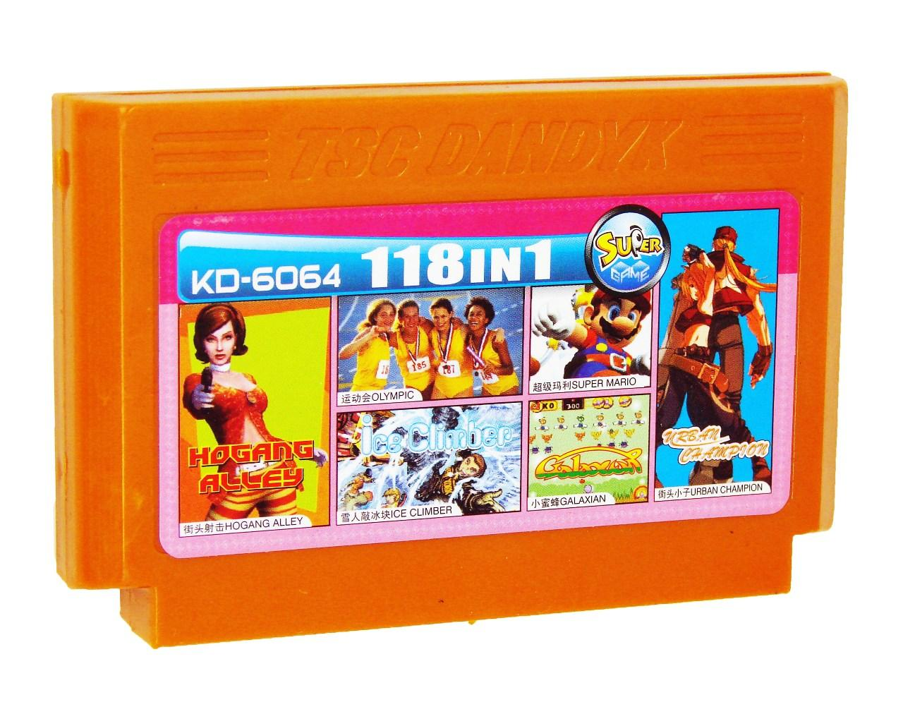 Картридж для Денди KD 6064 118 in 1 (Dendy), Hogang Alley, Olympic, Ice Climber, Super Mario, Galaxian, Urban Champion