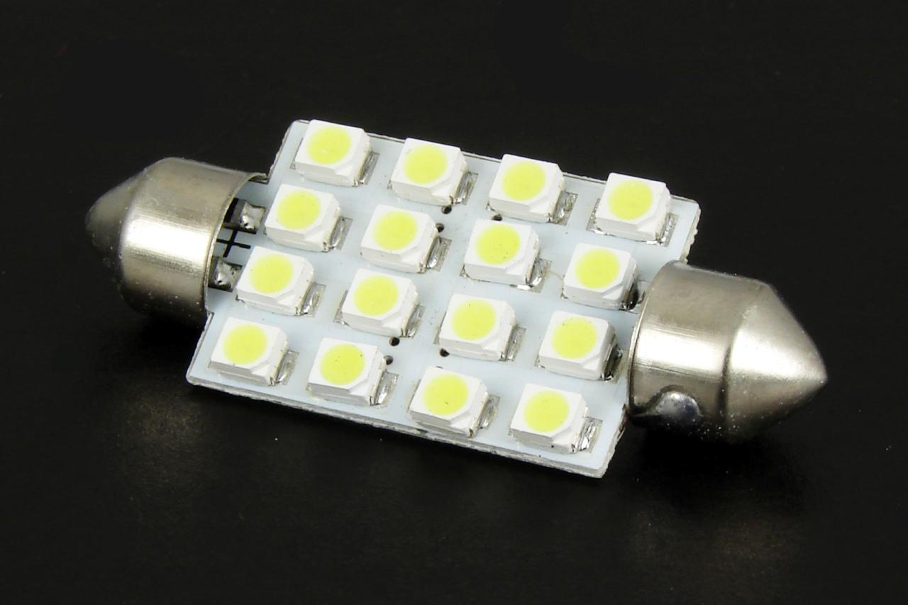 Автолампа светодиодная 16 LED SMD 38mm White Interior Dome Map Light Festoon Bulb