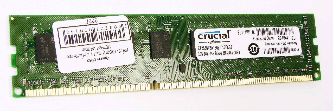 Память DDR3 2048Mb 1600MHz Crucial (CT25664BA160B(J)) RTL (PC3-12800) CL11 Unbuffered UDIMM 240pin