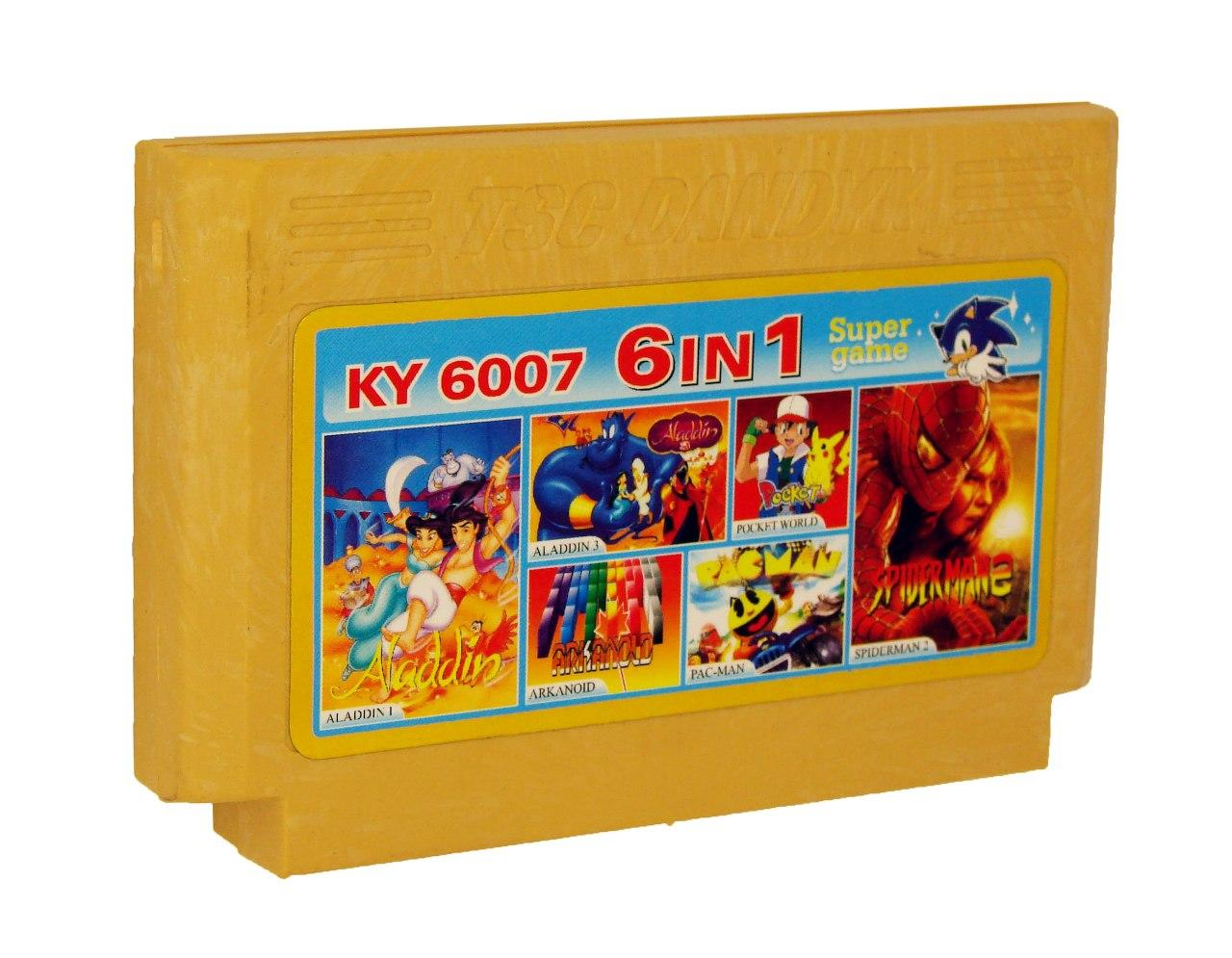 Картридж для Денди KY 6007 6 in 1 (Dendy), Spiderman 2, Pac-man, Pocket World, Arkanoid, Aladdin, Aladdin 3